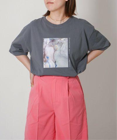 マーブルガラフロントプリントTシャツ