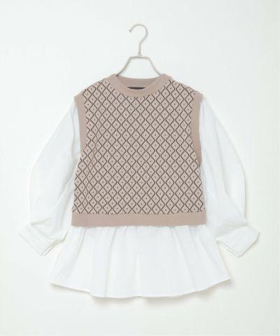 幾何学ドッキングボリューム袖シャツ